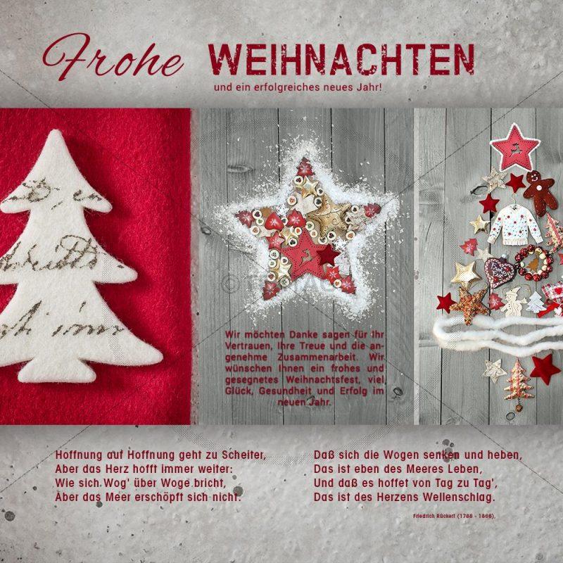 nostalgische Weihnachtskarte E-Card für Geschäftskunden in rot und grau (347)