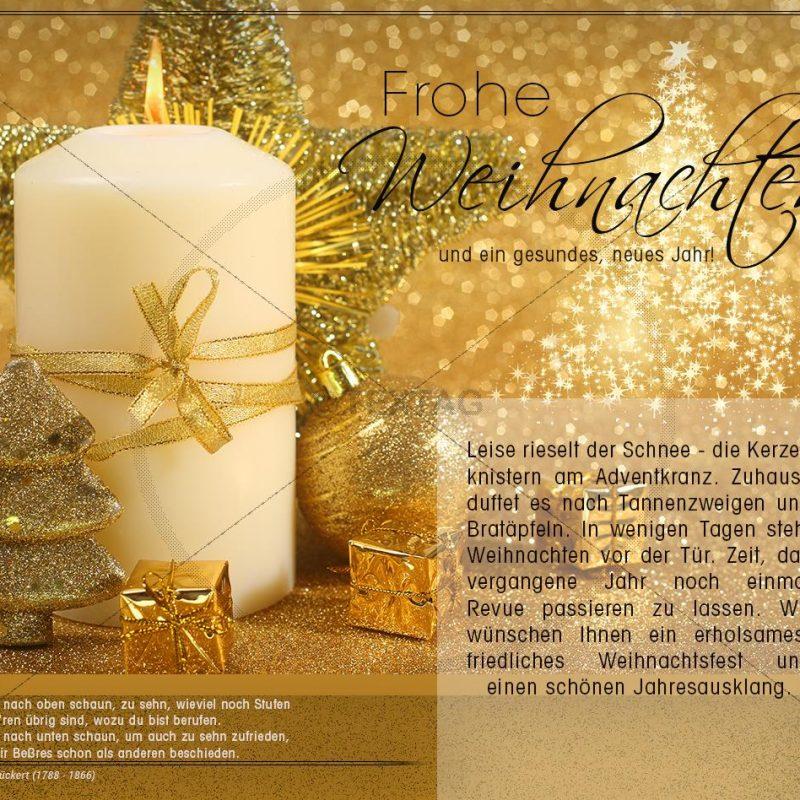 elegante, geschäftliche Weihnachts E-Card in gold (349)