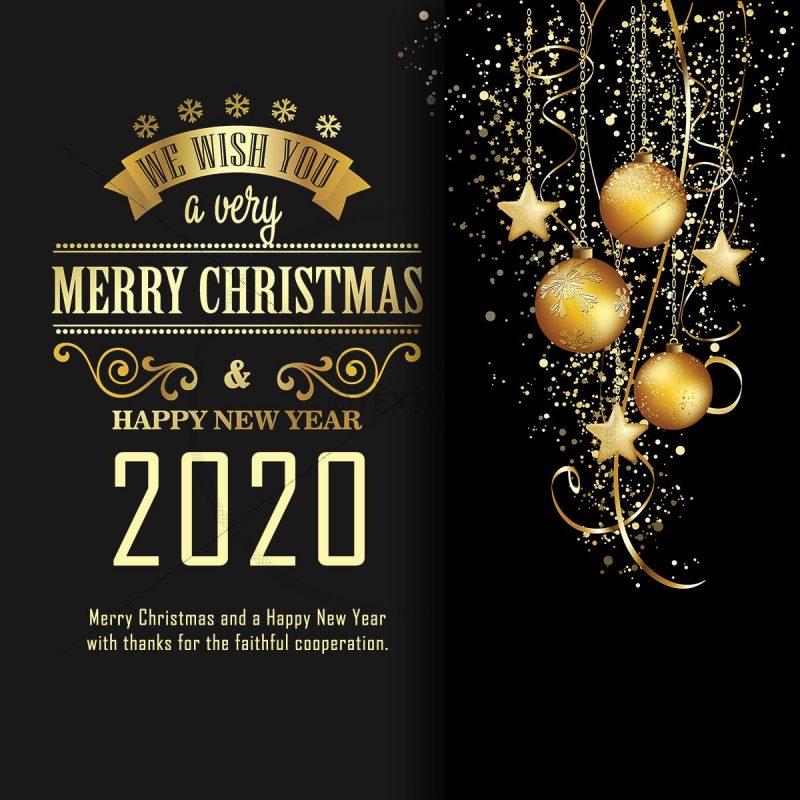 edle Weihnachts E-Card für Kunden mit Spruch in englisch, schwarz / gold (224)Weihnachts E-Card für Kunden NSL-2019-00224