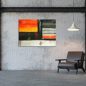 """Wandbilder Abstrakte Bilder auf Leinwand - Handgemalt Abstraktes Gemälde """"Regenwetter"""" - Unikat (104)"""