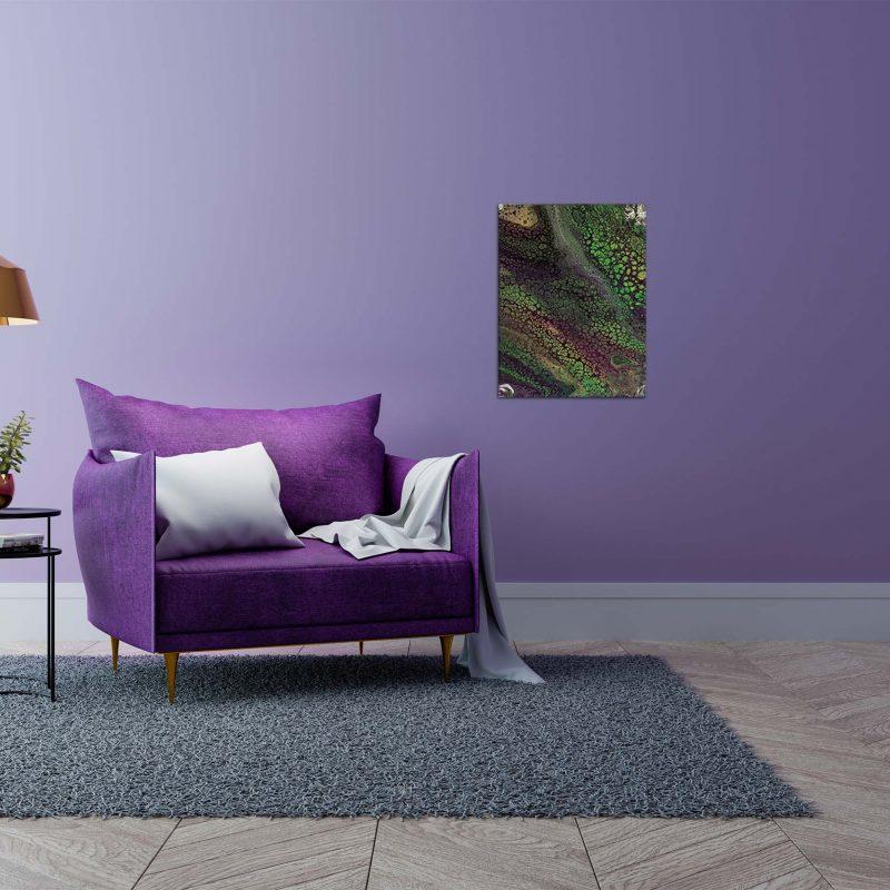 "Wandbild: Acrylic Pouring - Acrylic Fluid Painting ""Fantasy purple & green"" Unikat (123)"