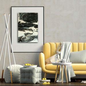 """Wandbild Arcyl Pouring - Acrylic Fluid Painting """"Black & White""""Unikat (133)"""