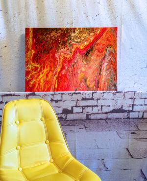 "Acrylic Pouring - Acrylic Fluid Painting ""LAVA"" Unikat (138)"
