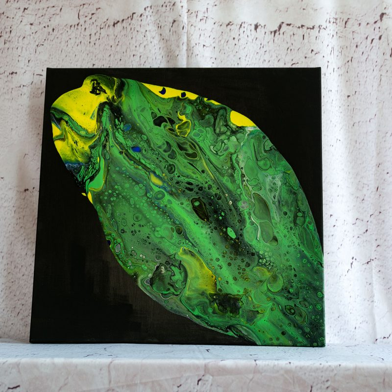 "Acrylic Pouring - Acrylic Fluid Painting ""Green Fisch"" Unikat (141)"