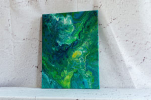 """Acrylic Pouring - Acrylic Fluid Painting """"Blue-Green Water"""" Unikat (144)"""