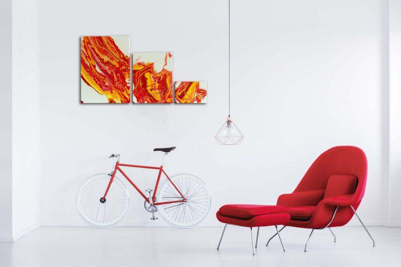 "3er-Wandbilder Set Acrylic Pouring - Acrylic Fluid Painting ""Flame"" Unikat (146)"