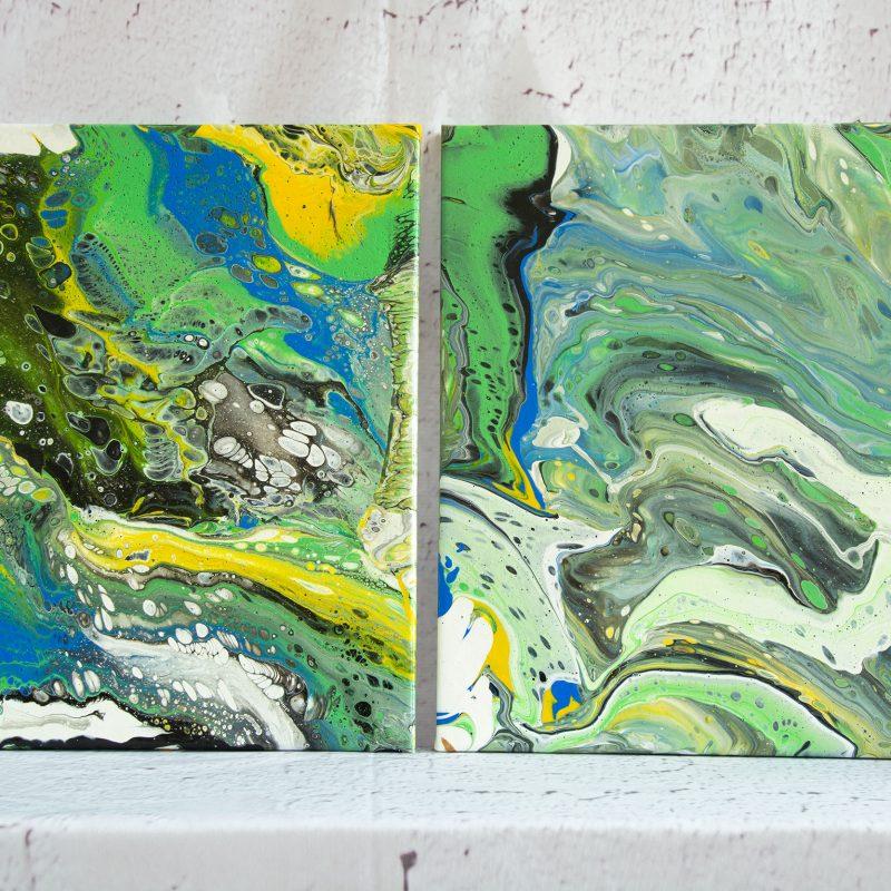 "Wandbild 2er Stet: Acrylic Pouring - Acrylic Fluid Painting ""Green & Blue""Unikat (149)"