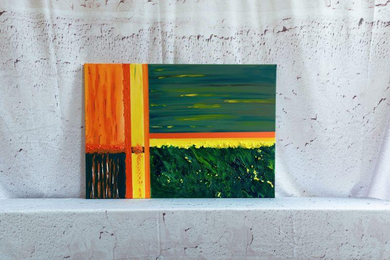 "Abstraktes Wandbild - Acryl Gemälde - ""Green- Yellow - Orange"" Unikat - 153"