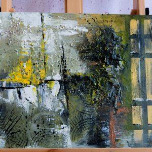 "Abstraktes Gemälde ""Black, Green & Yellow"" Unikat (162)"