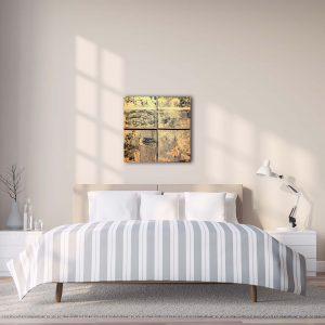 "4er Set - Abstrakte Wandbilder - Acryl Gemälde - ""Gold-Schwarz"" Unikat - 169"
