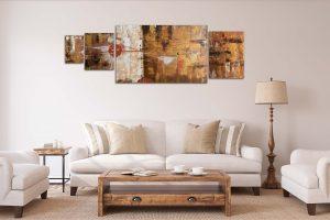 """4er Set - Abstrakte Wandbilder - Acryl Gemälde - """"Rustikal"""" Unikat - 170"""
