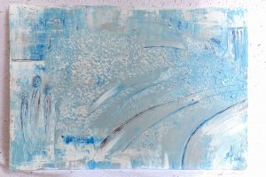 Drei Personen frieren im Eissturm. Spachtel-Technik in Eisblau, Silber, und Weiß. Abstrakte Malerei der besonderen ART.