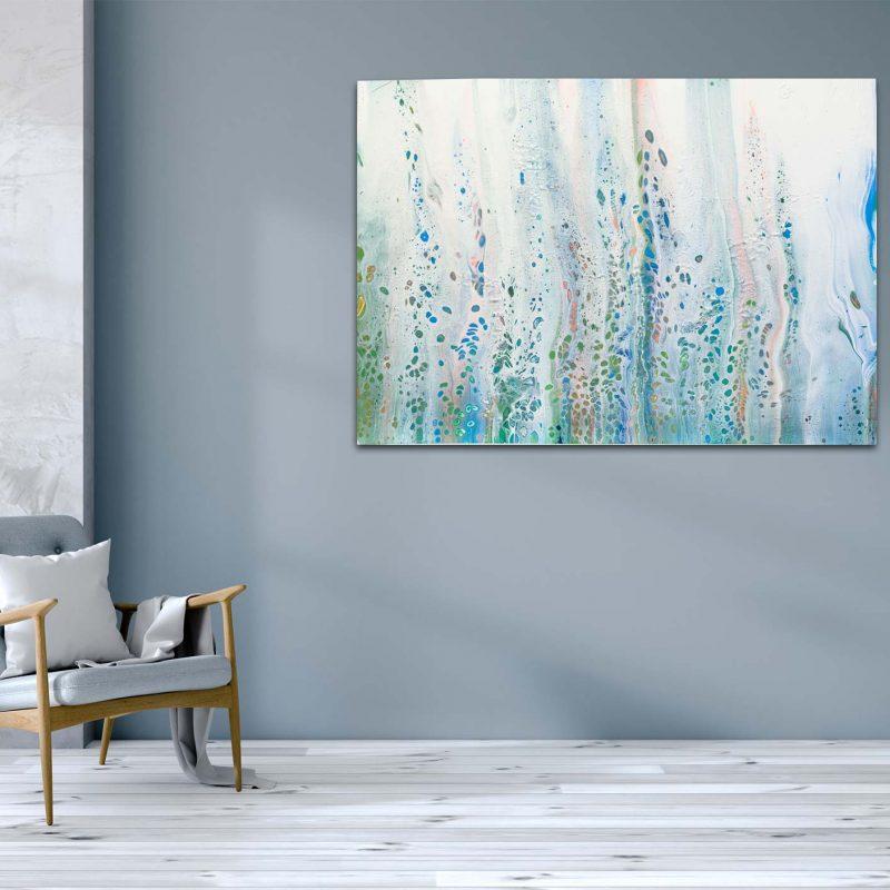 "Abstraktes Wandbild - Acryl Pouring Gemälde - ""Flowers in the wind"" Unikat- PO182"