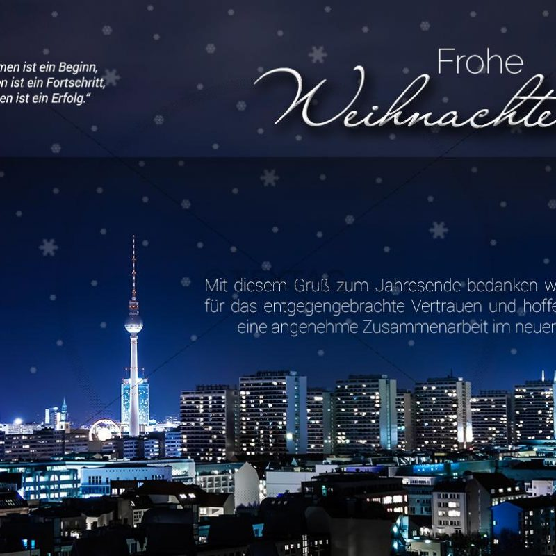 stylische, geschäftliche Weihnachts-E-Cards - Weihnachtsgrüße aus Berlin (0387)