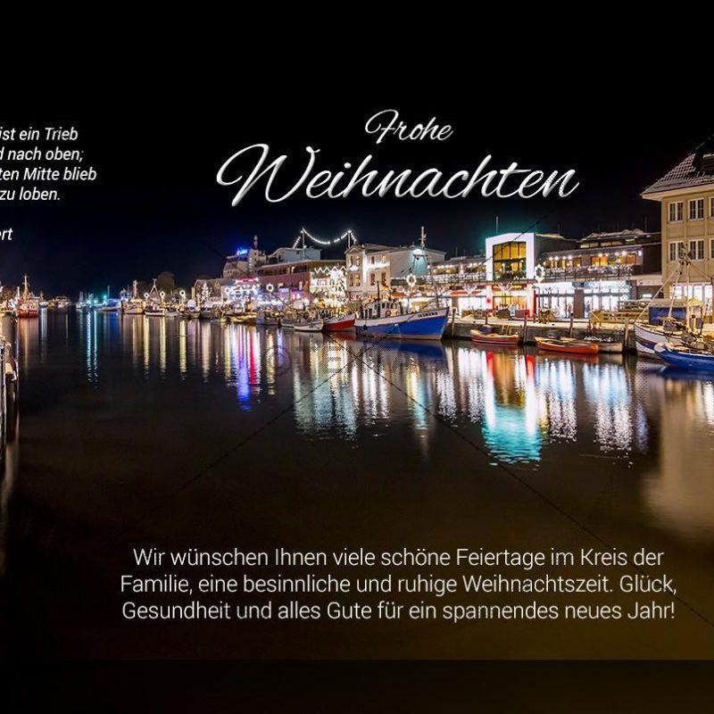 digitale, geschäftliche Weihnachts-E-Cards - Weihnachtsgrüße aus Rostock - Warnemünde (0389)