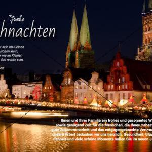digitale, geschäftliche Weihnachts-E-Cards - Weihnachtsgrüße aus Lübeck (0390)