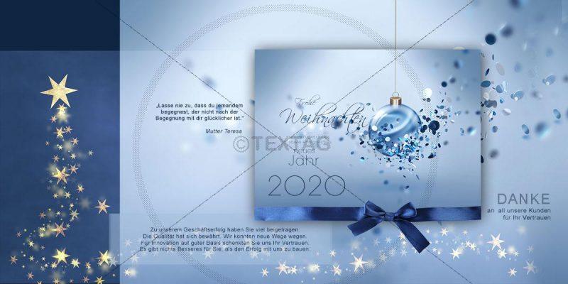 extravagante Weihnachts E-Card in blau und gold mit Spruch (271) NSL-2018-00271