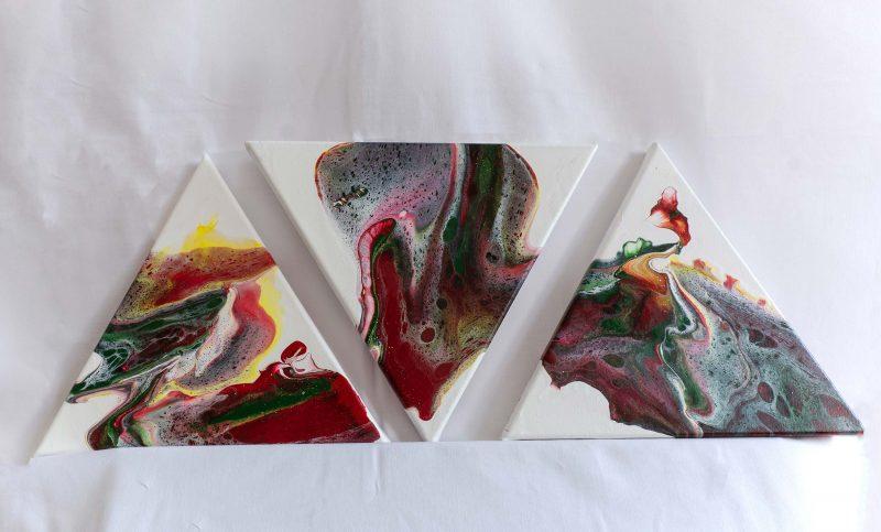 """Acrylic Pouring - Acrylic Fluid Painting """"3x3"""" Unikat 184"""