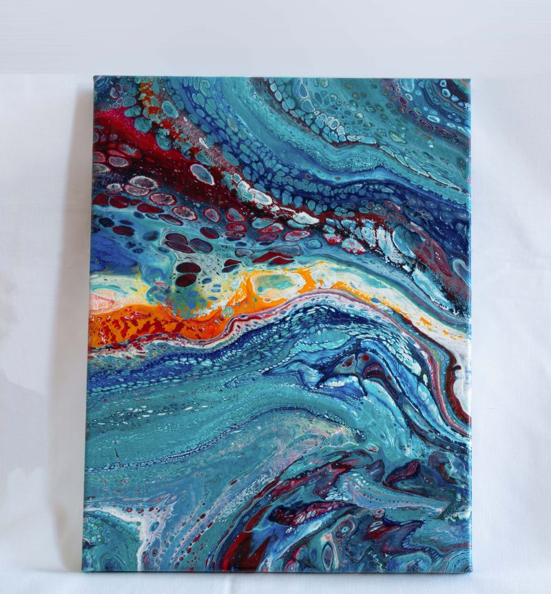 "Acrylic Pouring - Acrylic Fluid Painting ""Blue Water"" Unikat PO185"