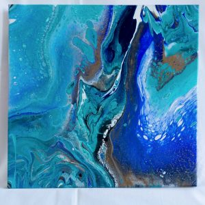 "Acrylic Pouring - Acrylic Fluid Painting ""Blue Water"" Unikat PO185"