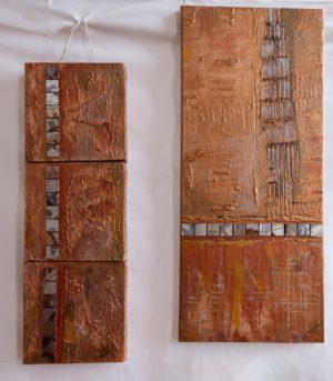 """3-teiliges Bilderset - Abstraktes Gemälde """"Daydream"""" Bronze - Unikat - 187 Passend zu 188"""
