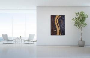 "Abstraktes Gemälde ""Golden River"" - Unikat - 190"