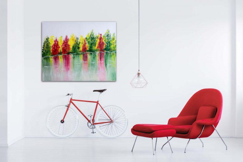 """Abstraktes Gemälde """"Colorful Forest"""" mit Struktur - Unikat - 192"""