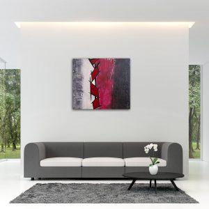 "Abstraktes Wandbild - Acryl Gemälde - ""GEO RED & BLACK"" Unikat handgemalt (195) ©G. Hofer TEXTAG GROUP"