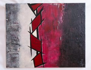 "Abstraktes Wandbild - Acryl Gemälde - ""GEO RED & BLACK"" Unikat handgemalt (195) ©G. Hofer TEXTAG GROUP"