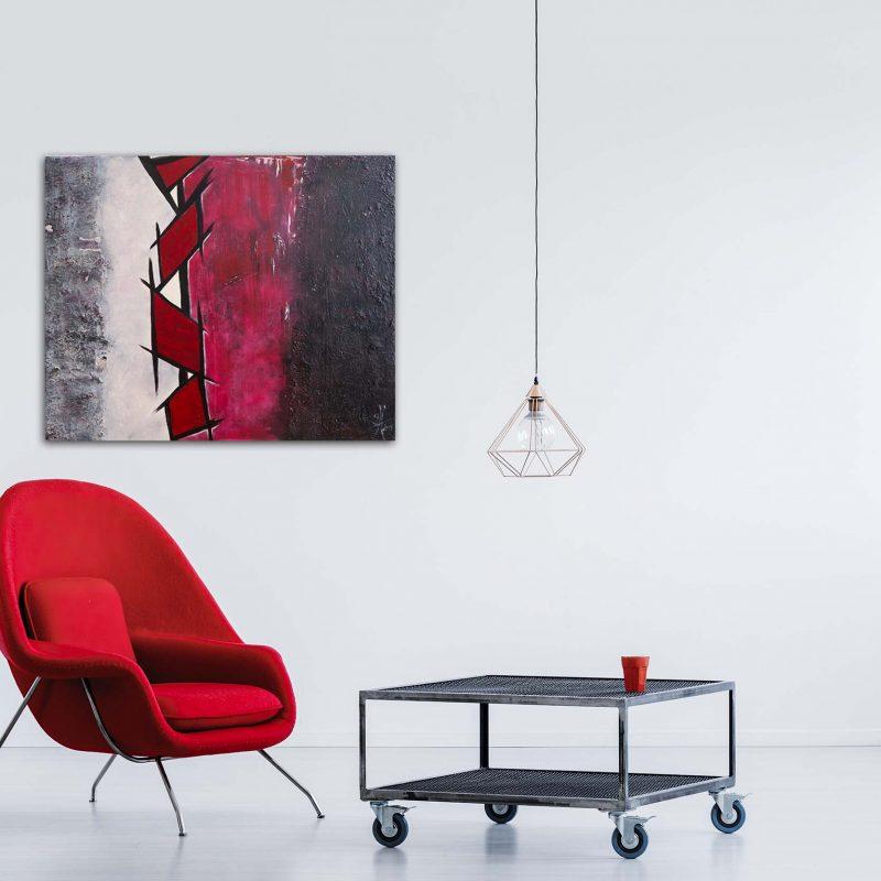 "Extravagantes, abstraktes Wandbild - Acryl Gemälde - ""GEO RED & BLACK"" Unikat handgemalt (195)"