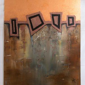 "Extravagantes, abstraktes Wandbild - Acryl Gemälde - ""GEO-Bronze"" Unikat handgemalt (197) ©gH Abstrakt Design"