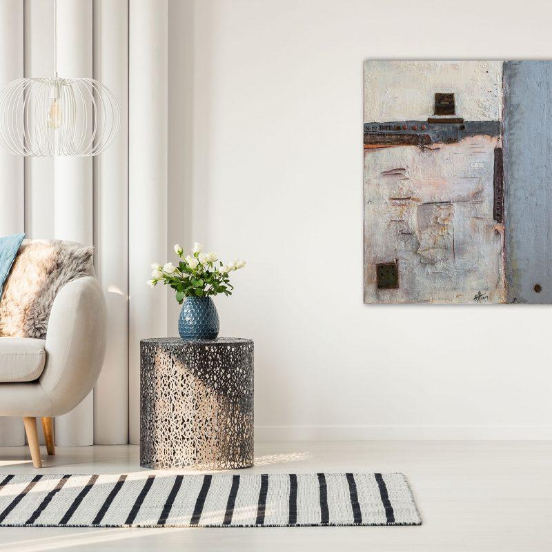 "Abstraktes Acryl Gemälde mit Beton ""Industrial No 152″ Unikat (203)"