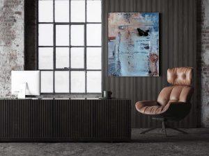 """Acryl Gemälde """"Route 66″ mit nostalgischer Motorradbrille und Metall. Unikat (211) - handgemalt Gabriele Hofer"""