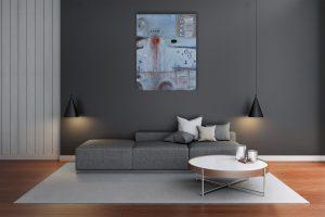 """""""Loft Impression″ Acryl Gemälde mit schwarzem Achat, Edelstein. Unikat (212) - handgemalt Gabriele Hofer"""