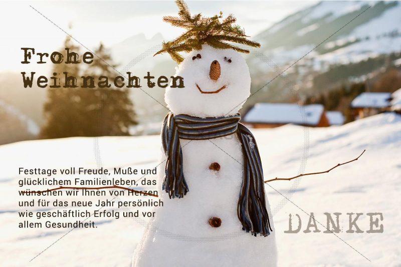 weihnachtliche Schneemann E-Card mit Spruch, geschäftlich, ohne Werbung (399)