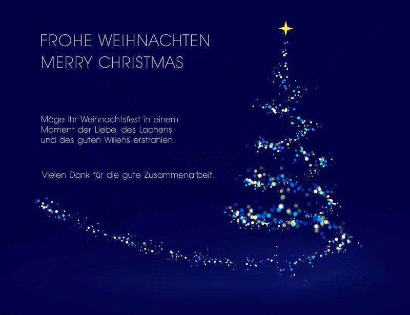 edle Weihnachts E-Card in Blau mit Weihnachtsbaum, geschäftlich, ohne Werbung (406)