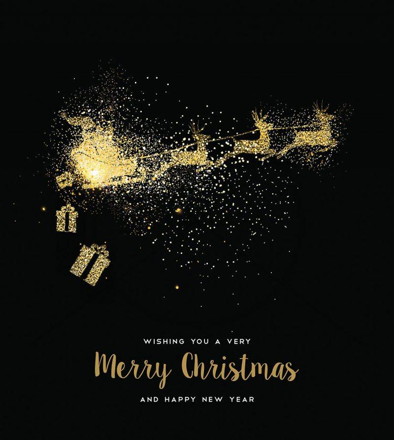 extravagante Weihnachts E-Card in Schwarz, EN, geschäftlich, ohne Werbung (408)