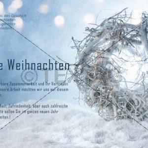 edle Weihnachts E-Card in Pastell-Blau, geschäftlich, ohne Werbung (411)