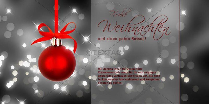 Weihnachts E-Card mit Spruch in Silber und rot (00417)