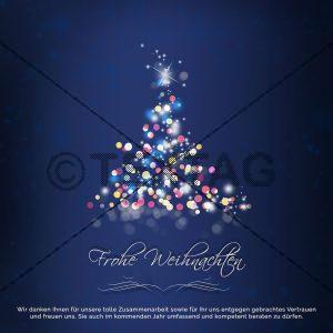 geschäftliche Weihnachts E-Card mit Spruch mit Weihnachtsbaum in blau (00421)