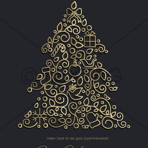 geschäftliche Weihnachts E-Card mit Spruch in Anthrazit mit Weihnachtsbaum in Gold (00422)