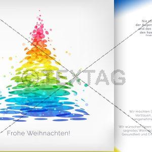 geschäftliche Weihnachts E-Card mit Spruch mit Weihnachtsbaum in Regenbogenfarben (00424)