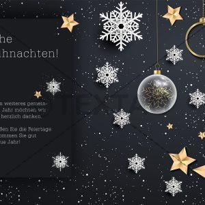 exklusive Weihnachts E-Card in schwarz, gold und weiß, ohne Werbung (00425)