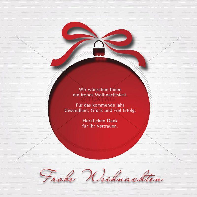 geschäftliche Weihnachts E-Card in weiß und rot, ohne Werbung (00430)