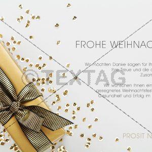 edle Weihnachts E-Card in Gold und Weiß, geschäftlich, ohne Werbung (412)