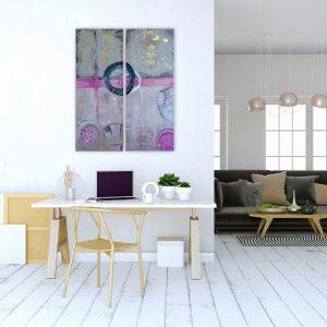 "Abstraktes Acryl Gemälde 2er-Set ""Loft-Pink"" mit Beton und Blattgold – Unikat (221)"
