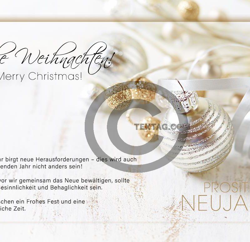 edle, geschäftliche Weihnachts eCard in Weiß und Gold, mit Spruch, ohne Werbung (435)