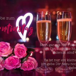 pinke Valentinstag E-Card mit Sektgläsern, Rosen und weißem Herz für umweltbewusste Liebende (00465)