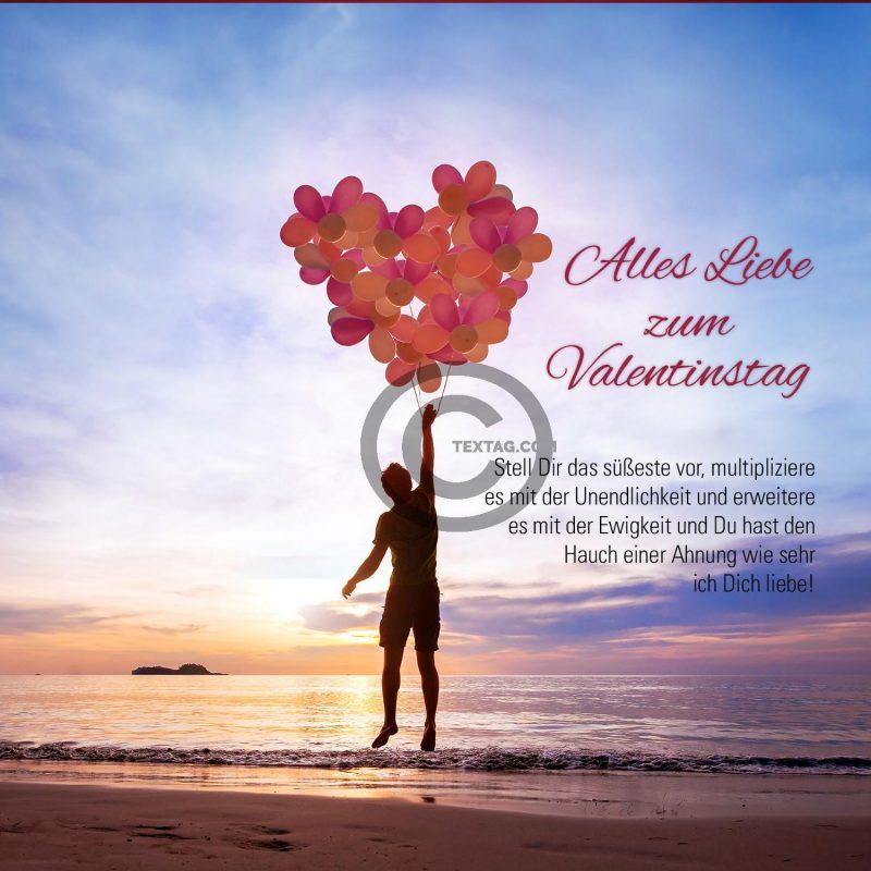 Valentinstag E-Cards mit Luftballonherz für Schwerverliebte (00477)