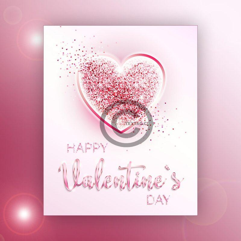 elegante Valentinstag E-Card in zartem Rosa (00478)